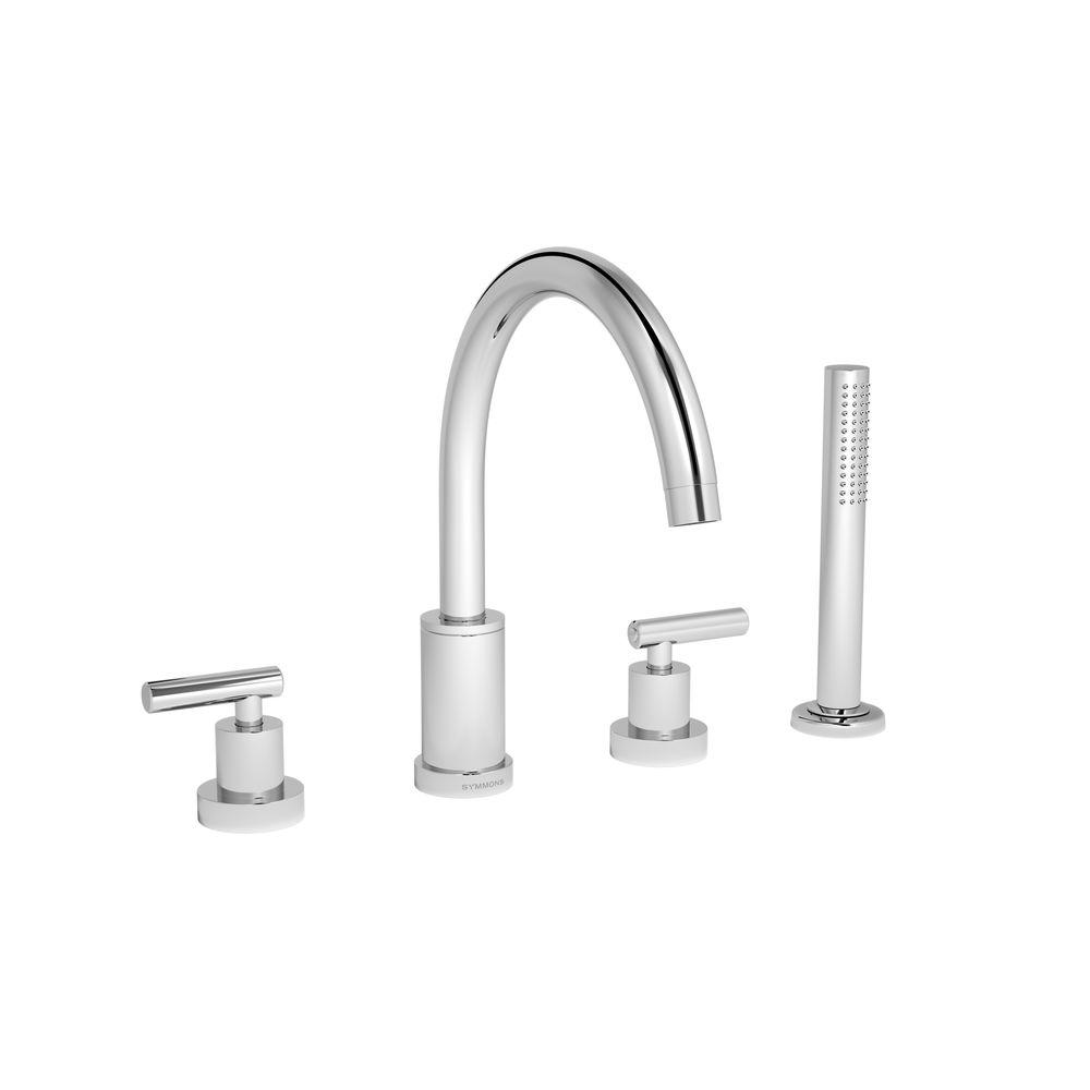 Symmons Sereno 2-Handle Deck-Mount Roman Tub Faucet with Handshower in Chrome