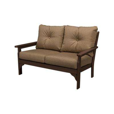 Vineyard  Mahogany Plastic Patio Outdoor Loveseat with Sunbrella Sesame Cushions