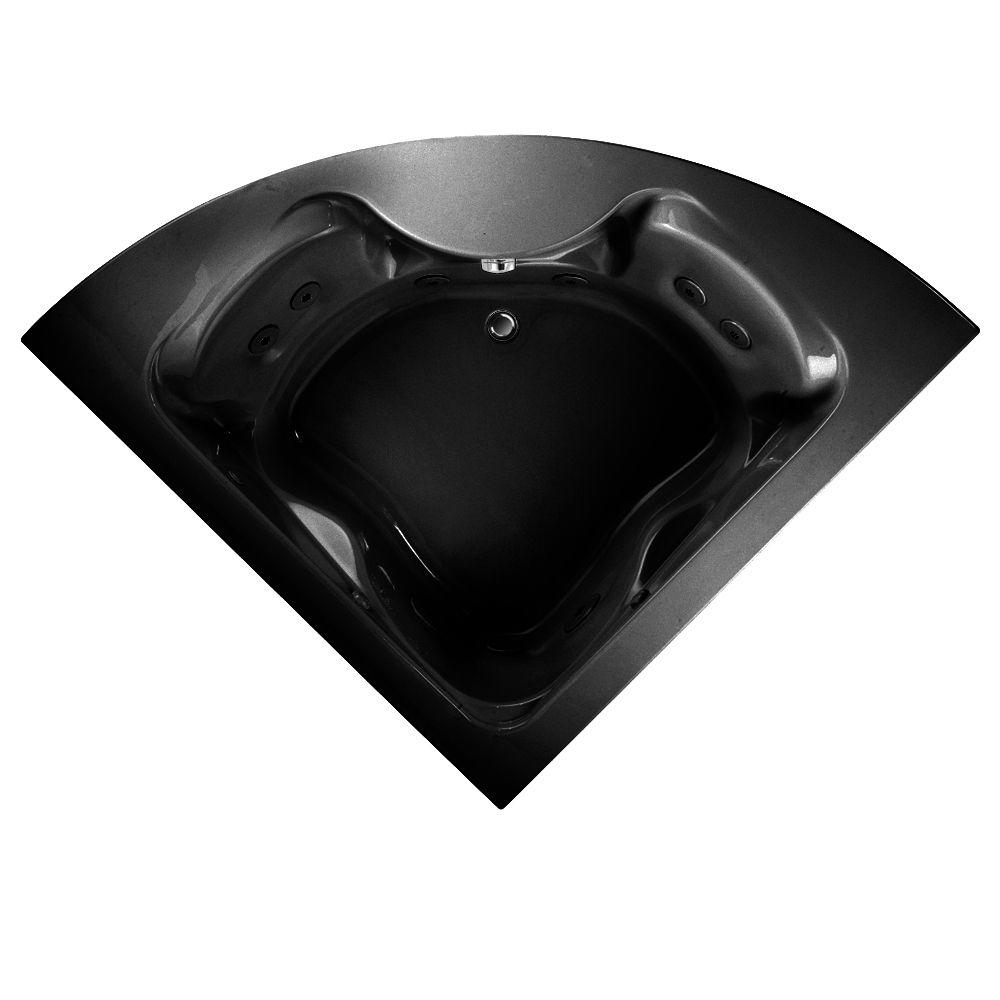 American Standard EverClean Cadet Corner 5 ft. Whirlpool Tub in Black-DISCONTINUED