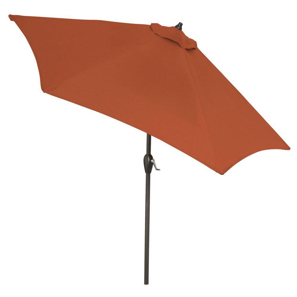 9 ft. Aluminum Market Patio Umbrella in Sunbrella Canvas Rust with Push-Button Tilt