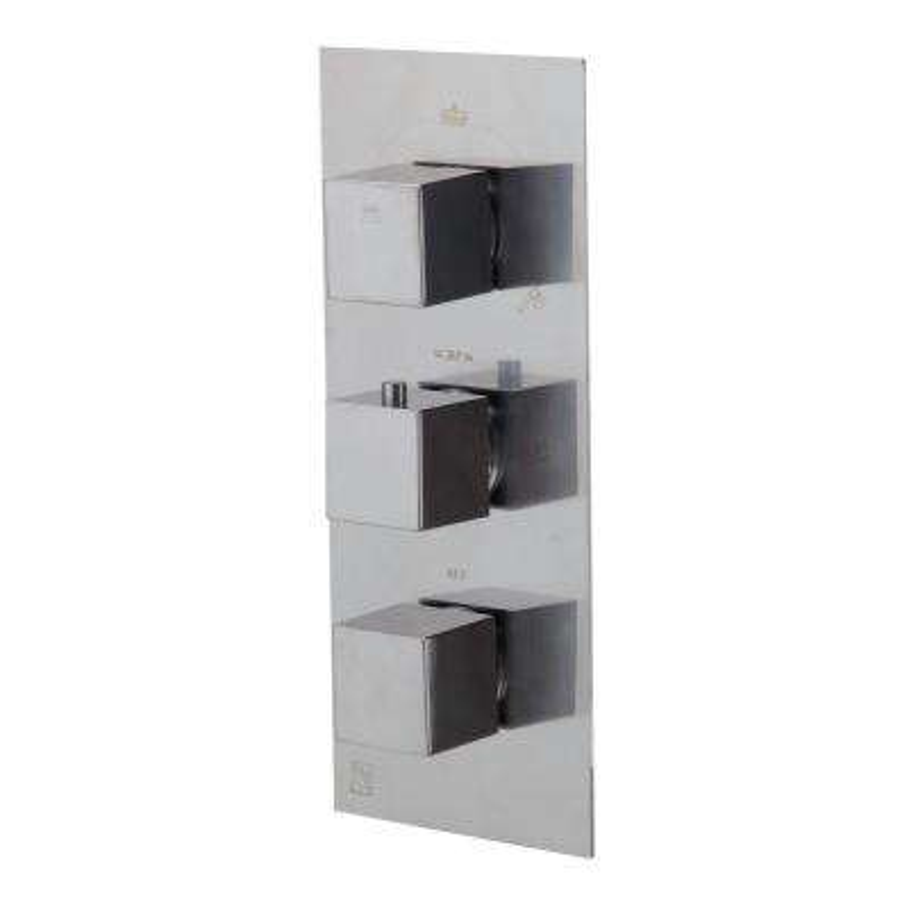 3-Handle Shower Mixer with Sleek Modern Design in Brushed Nickel