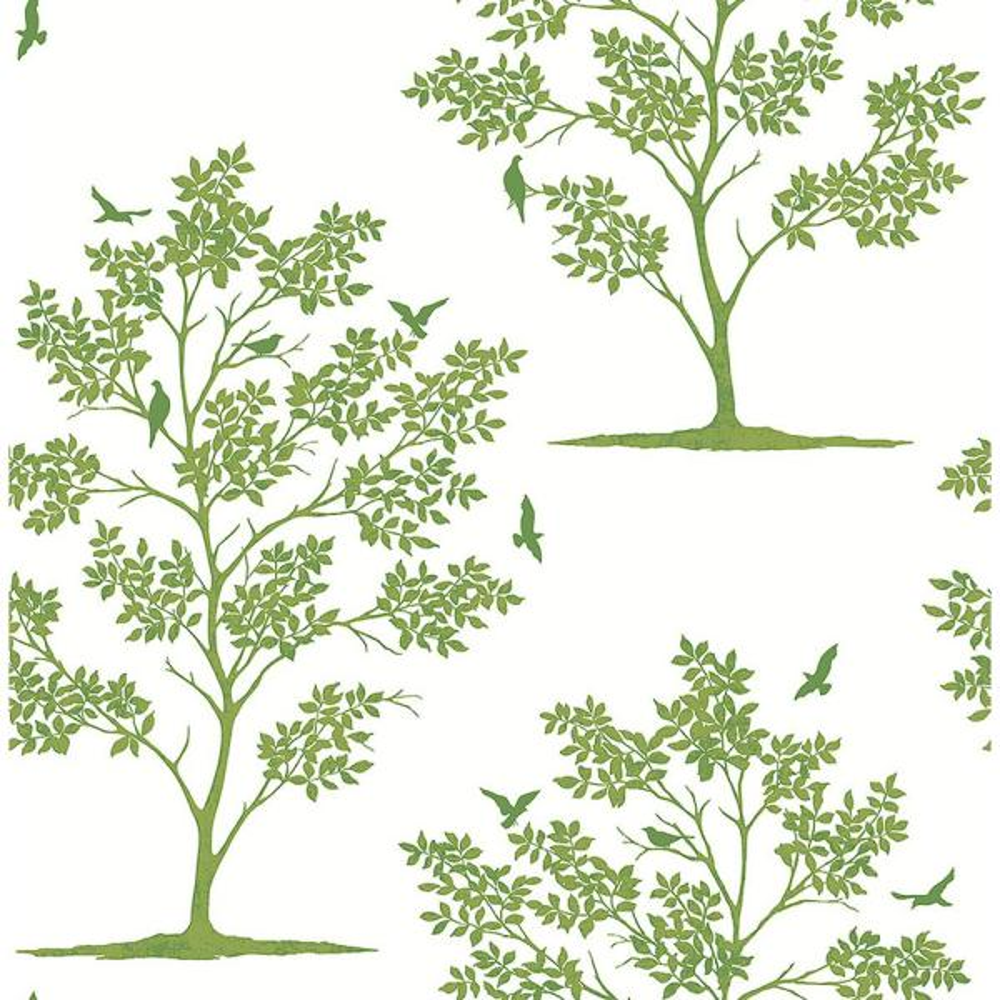 Brewster Woodland Green Trees and Birds Wallpaper FD23282