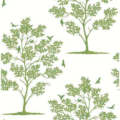 Woodland Green Trees and Birds Wallpaper Sample