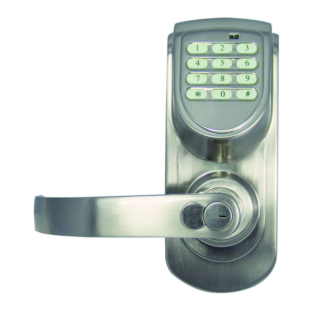 Design House Satin Nickel Electronic Keypad Entry Lever with Left-Hand
