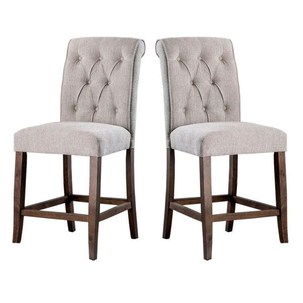 Cream and Brown Wooden Fabric Upholstered Counter Height Chair (Pack of Two)