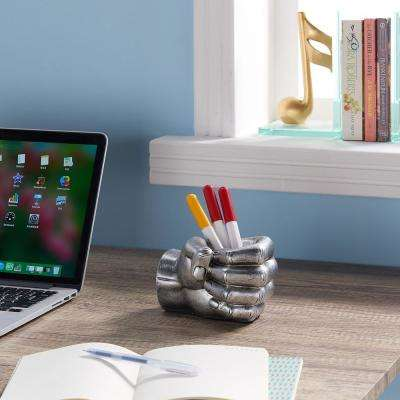 Hand Fist Silver Resin Pen Holder