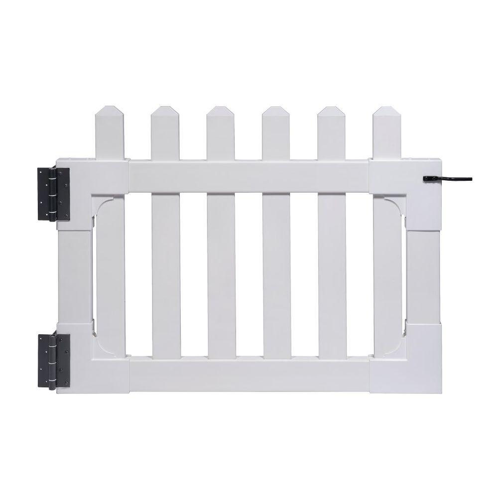 3-1/2 ft. x 2-5/8 ft. Newport Vinyl Picket Fence Gate with