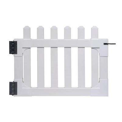 3-1/2 ft. x 2-5/8 ft. Newport Vinyl Picket Fence Gate with Stainless Steel Hardware