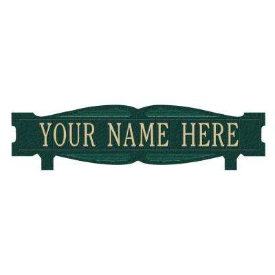 Rectangular 2-Sided 1-Line Mailbox Sign without Ornament Standard - Green/Gold