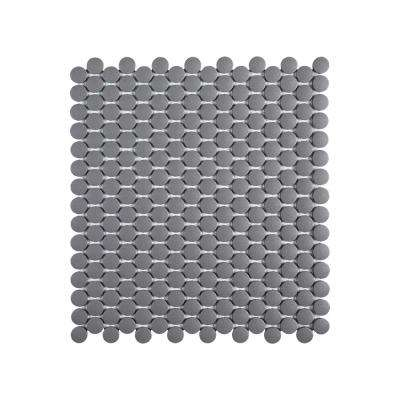 Thunderhead Gray 12.25 in. x 11.375 in. x 6 mm Penny Round Matte Porcelain Wall and Floor Mosaic Tile