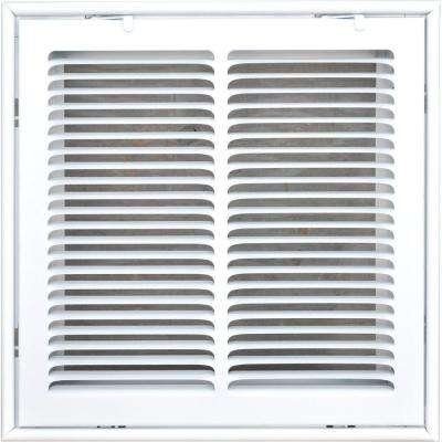 14 in. x 14 in. Return Air Vent Filter Grille, White with Fixed Blades