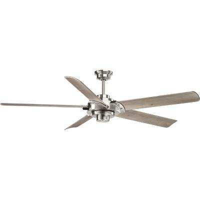 Indoor brushed nickel ceiling fan with remote