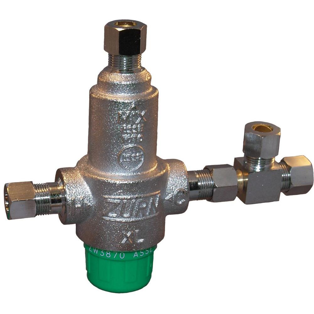 Thermostatic Mixing Valve: Zurn-Wilkins 3/8 In. Lead-Free Aqua-Gard Thermostatic