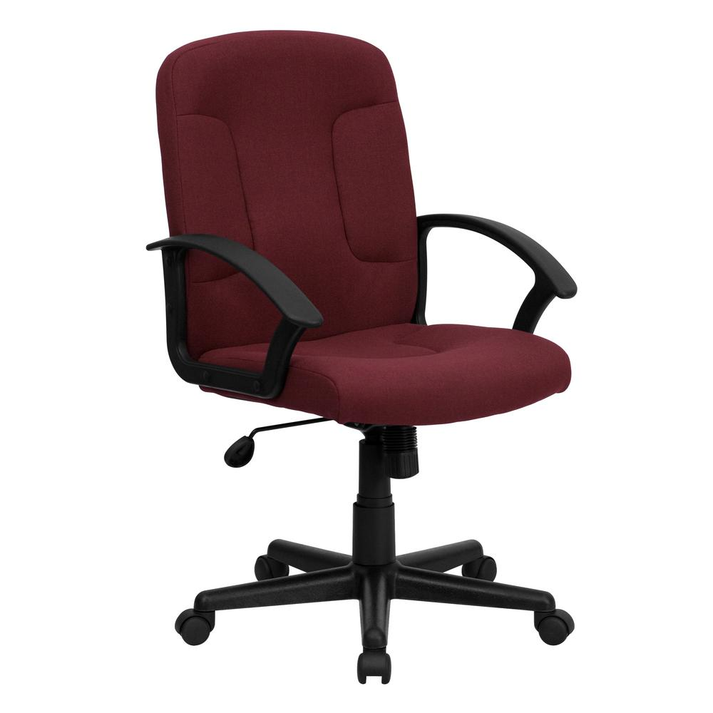 Flash Furniture Mid Back Burgundy Fabric Executive Swivel Office Chair With Nylon Arms