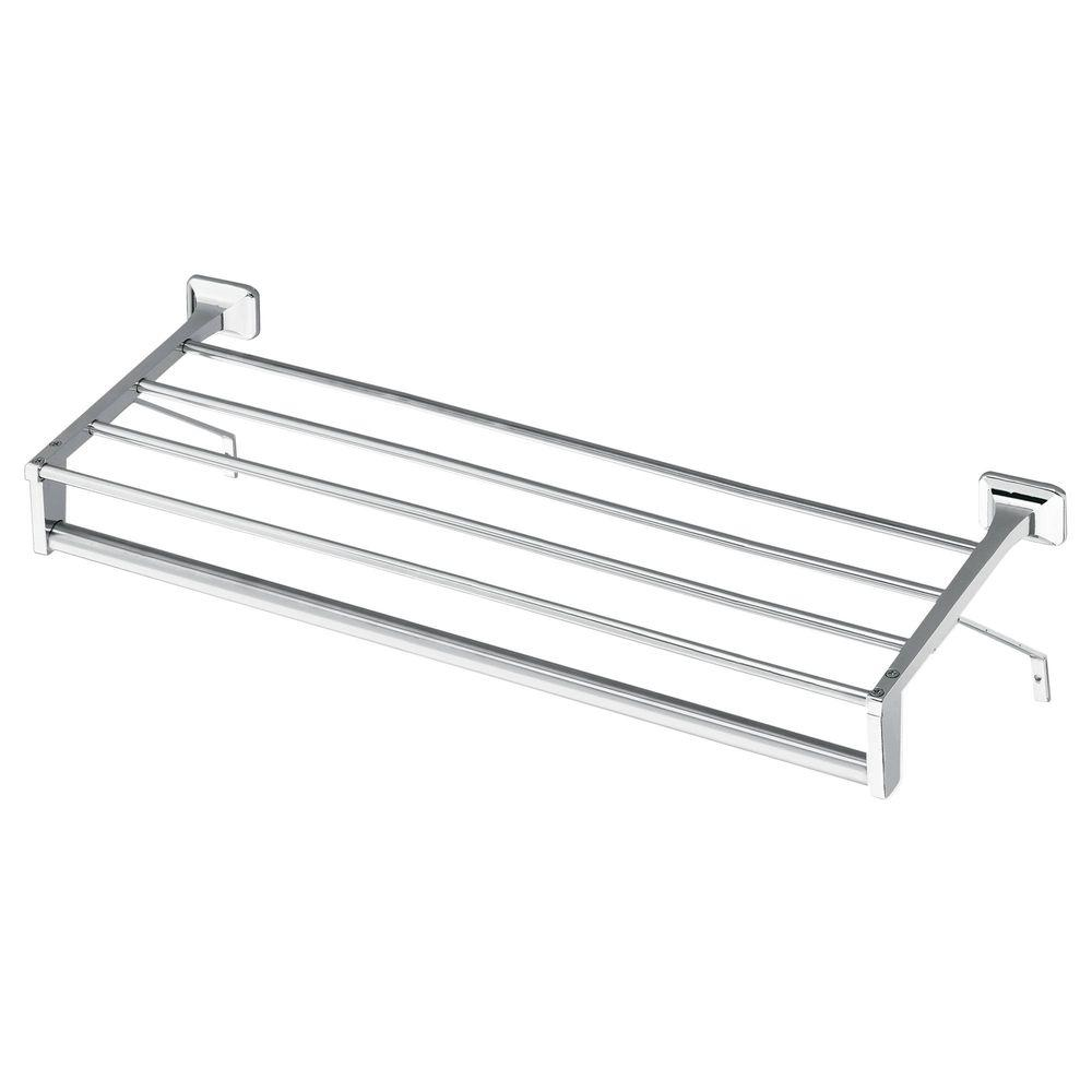 MOEN 24 in. Hotel Shelf with Towel Bar and Support Brackets in Chrome