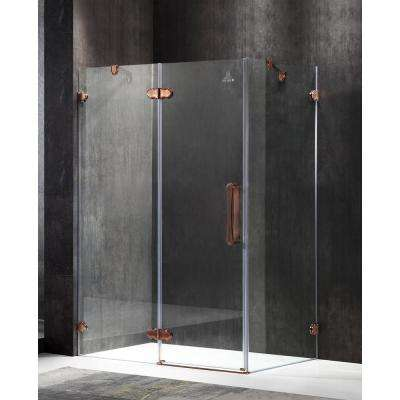 Deacon 55.51 in. x 78.74 in. Semi-Frameless Corner Hinged Shower Door in Bronze