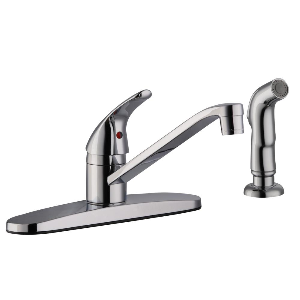 Design House Middleton Single-Handle Standard Kitchen Faucet with Side  Sprayer in Polished Chrome