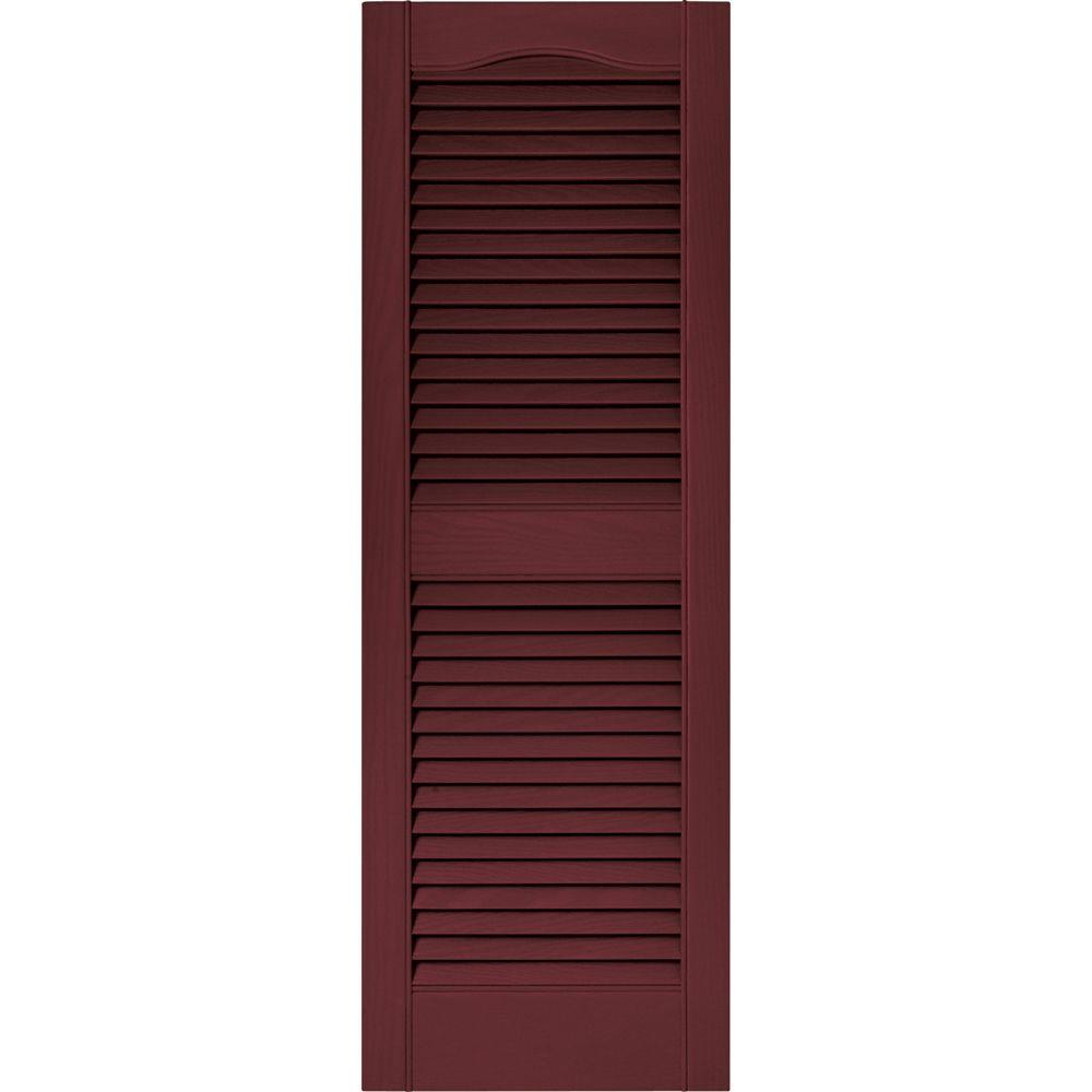 Builders Edge 15 in. x 43 in. Louvered Vinyl Exterior Shutters Pair in #078 Wineberry