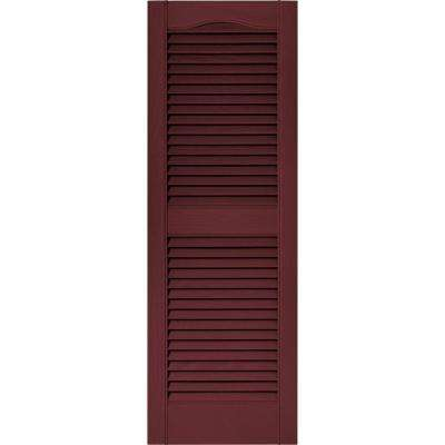 15 in. x 43 in. Louvered Vinyl Exterior Shutters Pair in #078 Wineberry