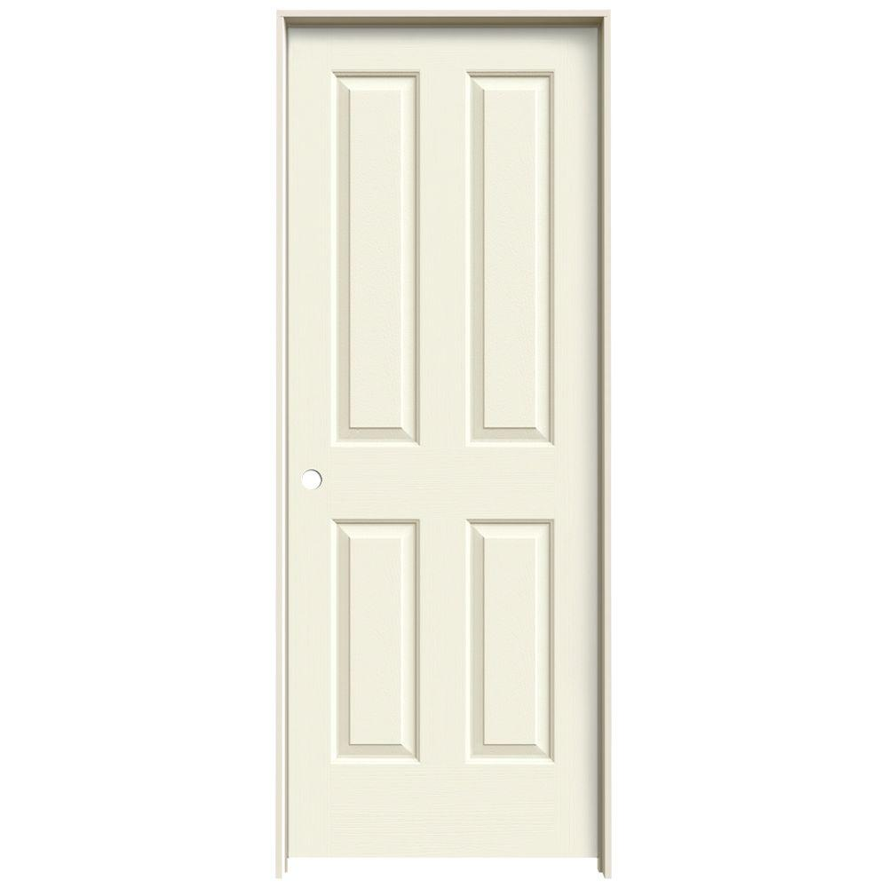 JELD-WEN Textured 4-Panel Painted Molded Single Prehung Interior Door