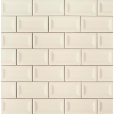 Almond Inverted Beveled 3 in. x 6 in. Glossy Ceramic Beige Subway Tile (1 sq. ft. / case)
