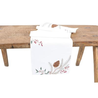 15 in. x 70 in. Pinecone And Berry Embroidered Christmas Table Runner, White