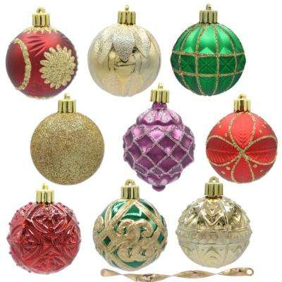 Christmas Tree Balls.Warm Tidings 60 Mm Assorted Ornament Set 101 Count