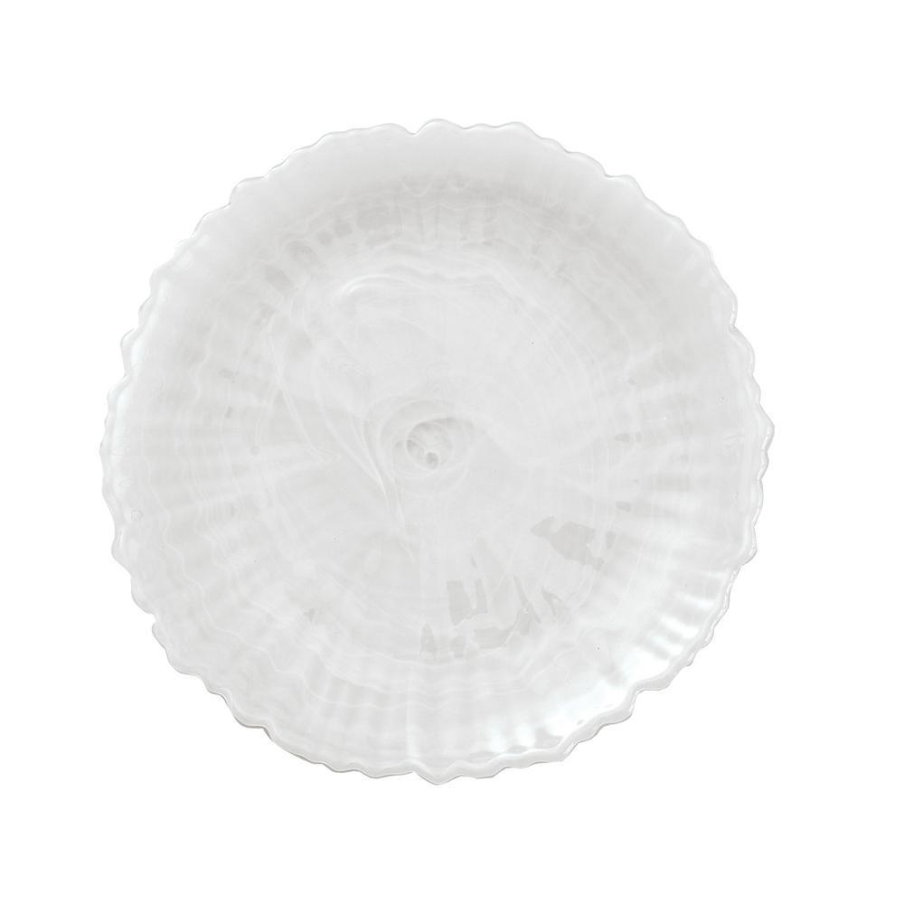 Alabaster Glass White Salad Plate (Set of 4)