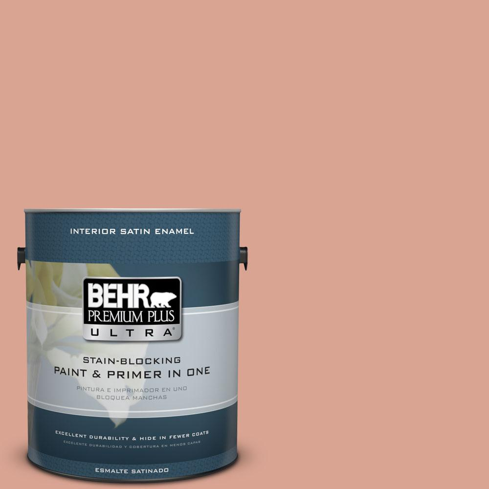 BEHR Premium Plus Ultra Home Decorators Collection 1-gal. #HDC-CT-13 Apricotta Satin Enamel Interior Paint