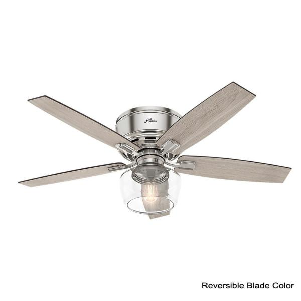 Hunter Bennett 52 In Led Low Profile Brushed Nickel Indoor Ceiling Fan With Light And Remote 53394 The Home Depot
