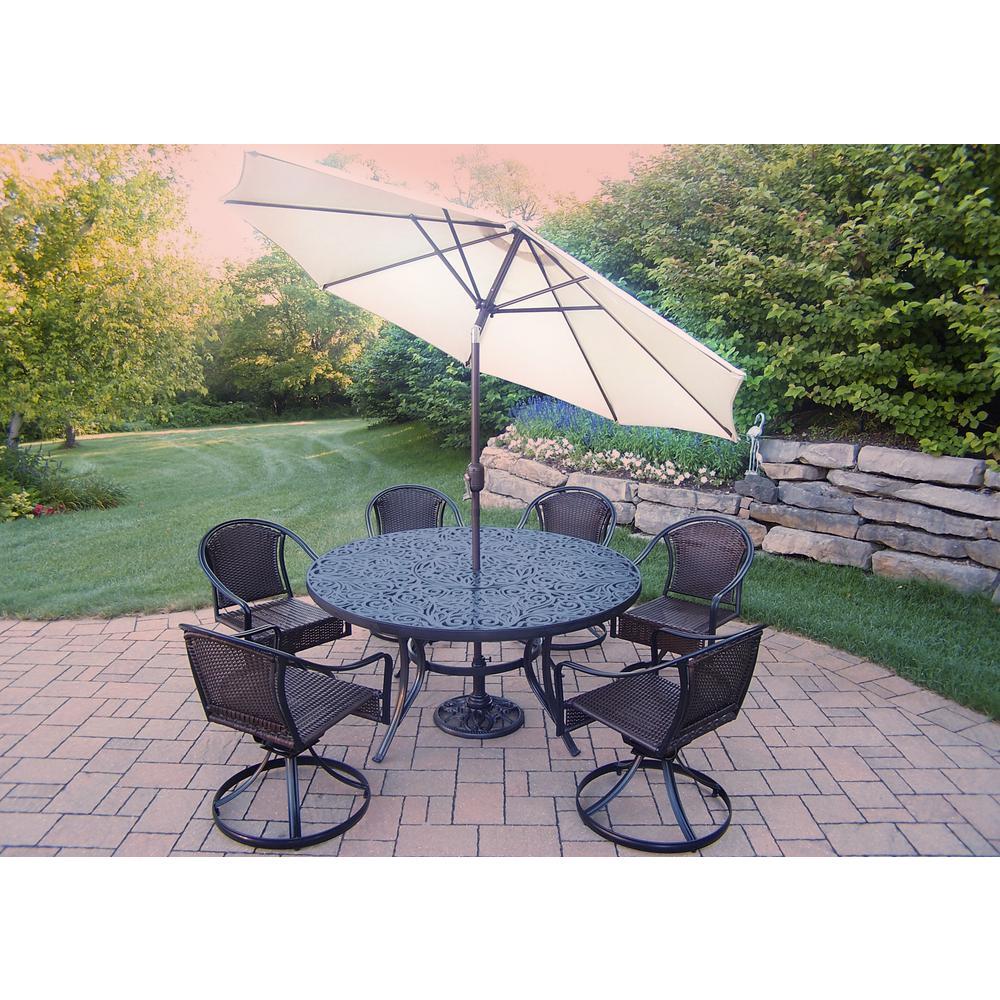9 Piece Aluminum Outdoor Dining Set And Beige Umbrella