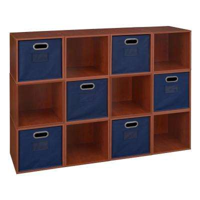 Cubo 39 in. H x 52 in. W Cherry/Blue 12-Cube and 6-Bin Organizer
