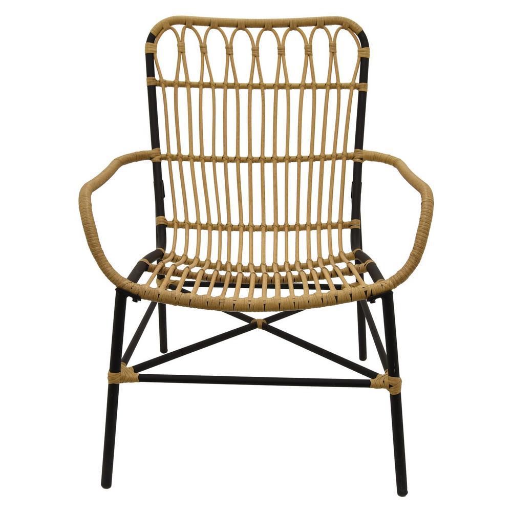 28.5 in. x 27.5 in. Brown Metal/Plastic Arm Chair