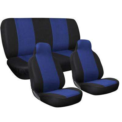 Polyester Seat Covers Set 24 in. L x 21 in. W x 40 in. H 3-PieceComplete Car Seat Cover Set Blue and Black