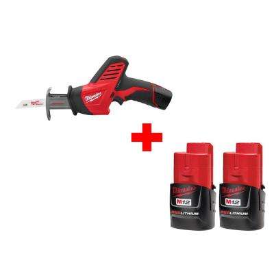 M12 12-Volt Lithium-Ion Cordless Hackzall Reciprocating Saw Kit with Free M12 Compact Battery (2-Pack)