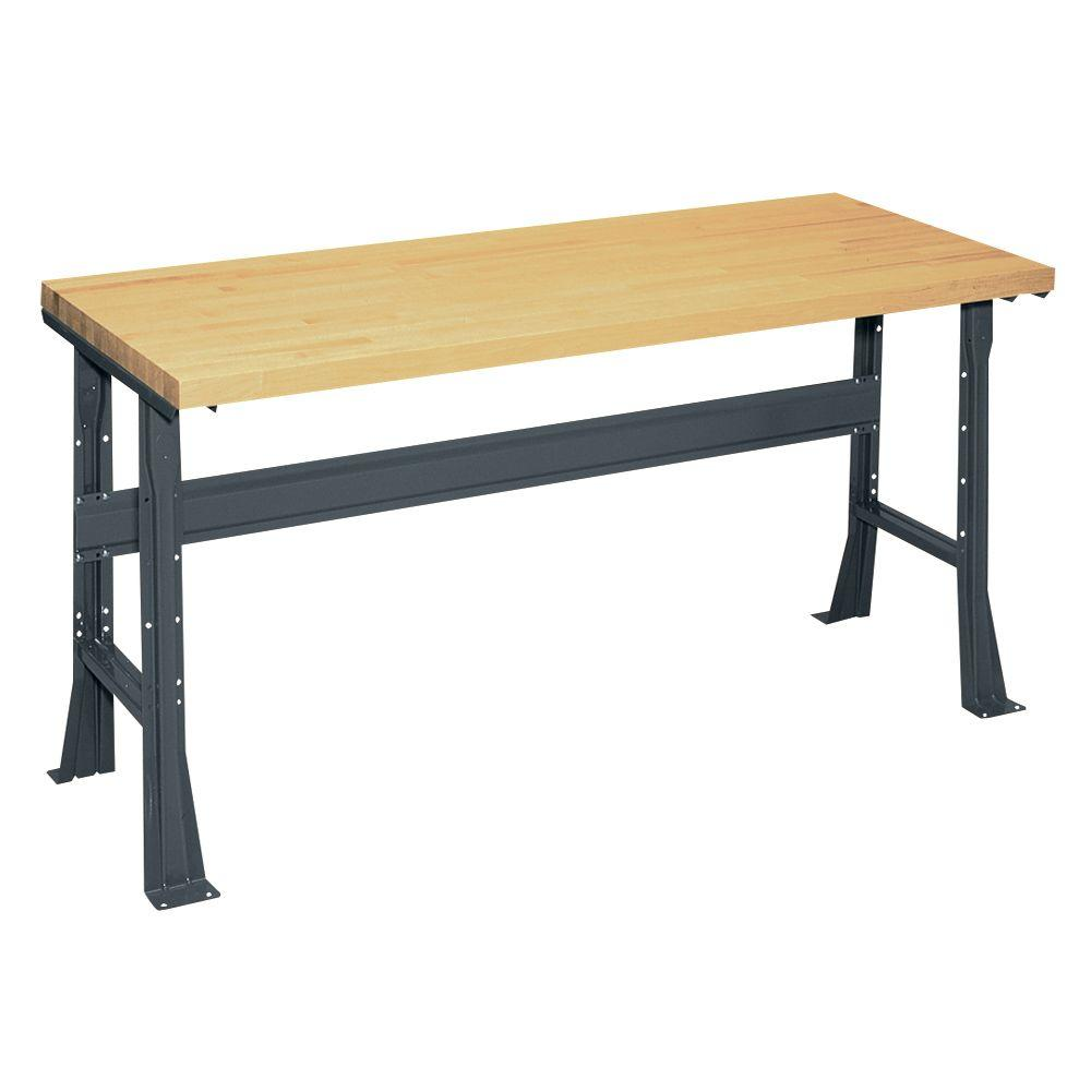 Edsal 34 in. H x 60 in. W x 30 in. D Maple Butcher Block Top Workbench