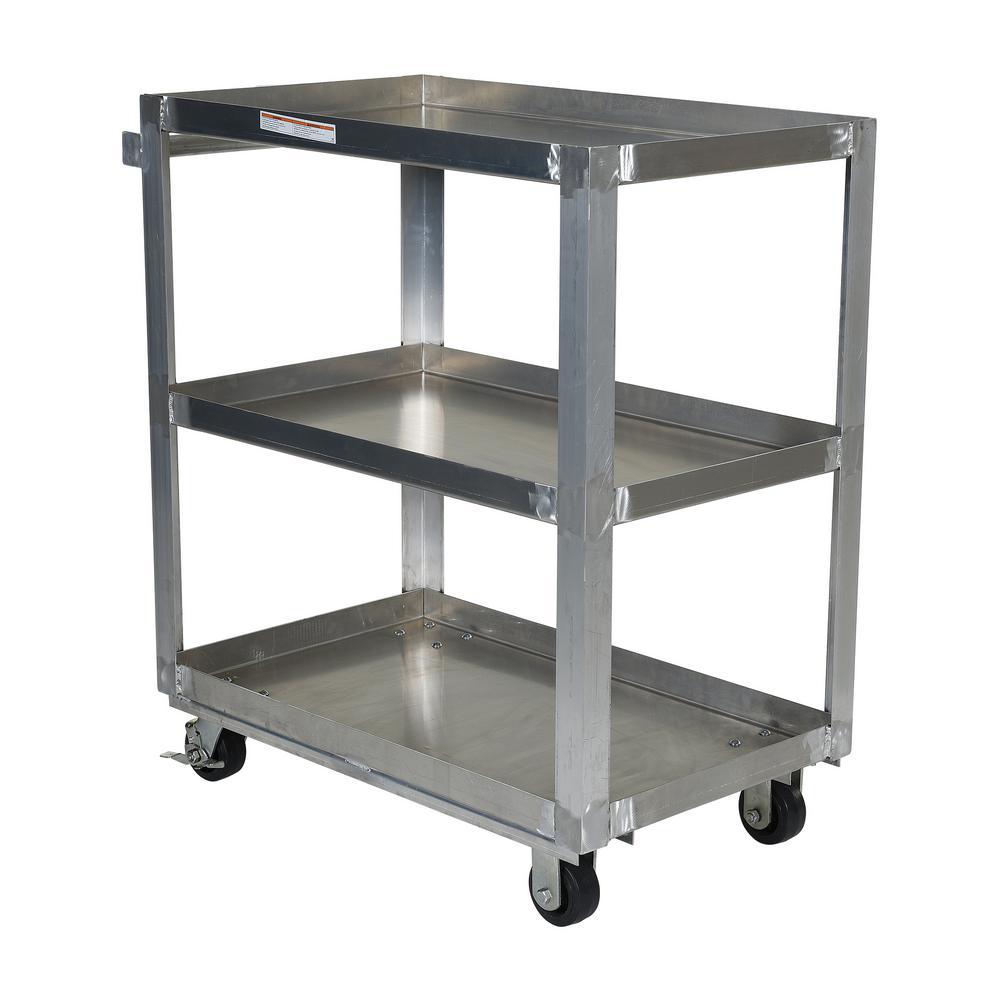 Vestil Aluminum Service Cart with Three 22 in. x 36 in. S...