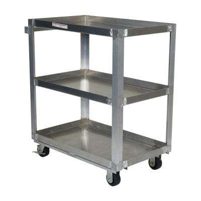 Aluminum Service Cart with Three 22 in. x 36 in. Shelves