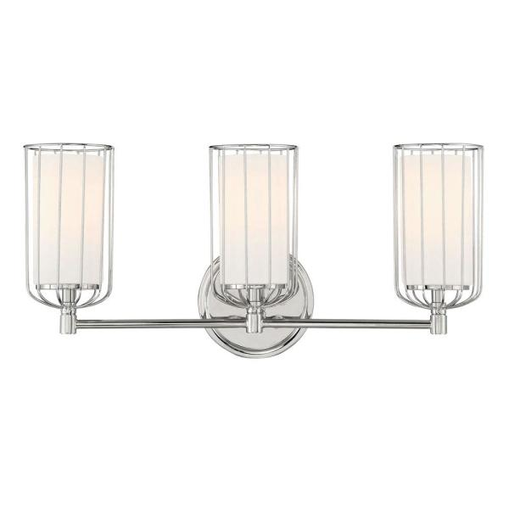 Avery 3-Light Polished Nickel Bath Bar Vanity Light