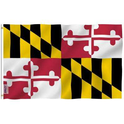 Fly Breeze 3 ft. x 5 ft. Polyester Maryland State Flag 2-Sided Flags Banners with Brass Grommets and Canvas Header