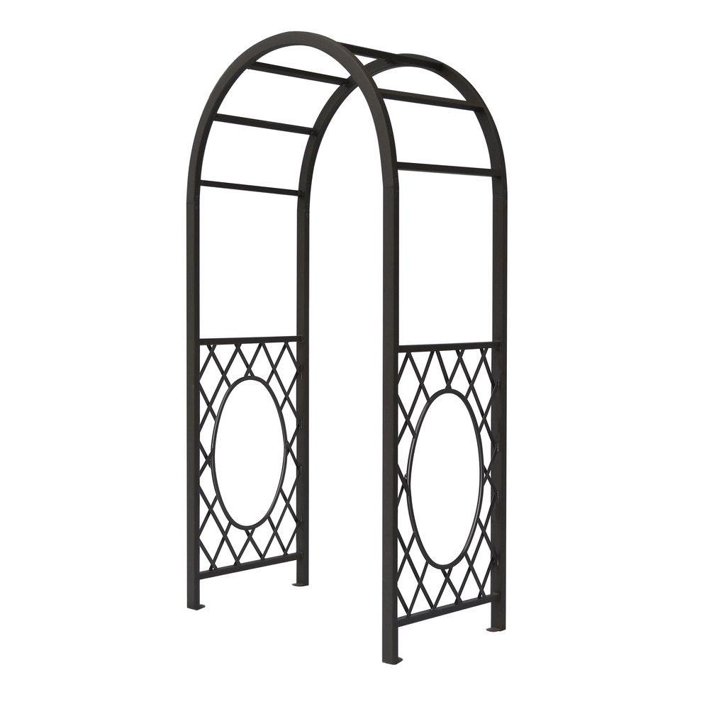 English Garden 44 in. x 86 in. Gunmetal Grey Steel Round