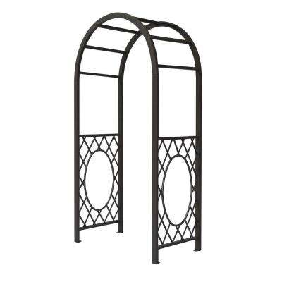 English Garden 44 in. x 86 in. Gunmetal Grey Steel Round Top Arbor