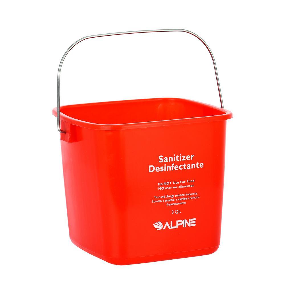 Alpine Industries 3 Qt. Red Plastic Cleaning Bucket Pail