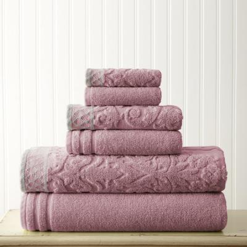 6-Piece Plum Damask Dusty Jacquard Towels Set with Embellished Border