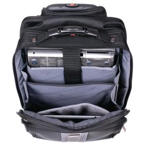 16.5 inch CompuTraveller Upright Black Wheeled Laptop Briefcase with Clothing Compartment by