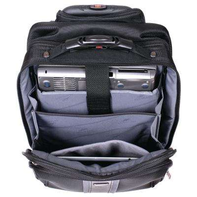 16.5 in. CompuTraveller Upright Black Wheeled Laptop Briefcase with Clothing Compartment