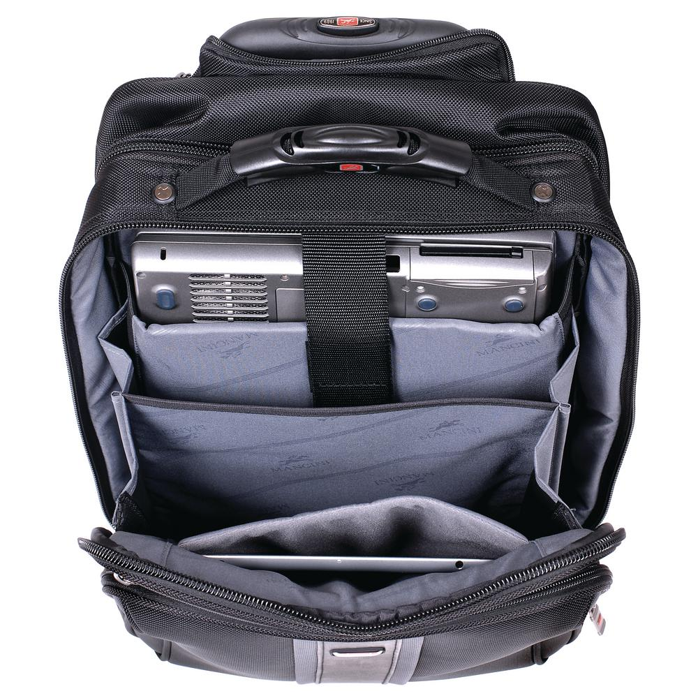 16.5 in. CompuTraveller Upright Black Wheeled Laptop Briefcase with Clothing