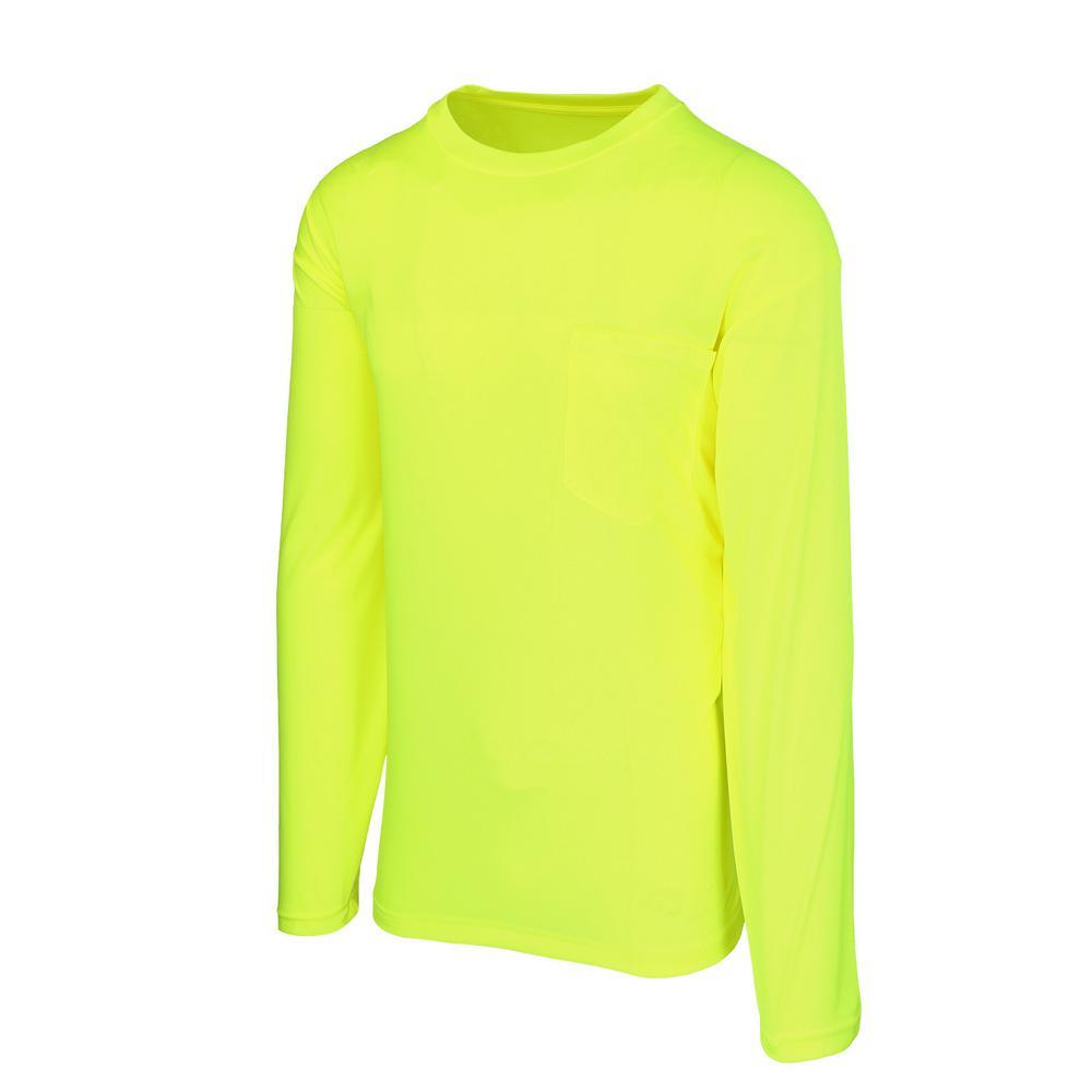 Maximum Safety Unisex Large Hi-Vis Yellow Long-Sleeve Safety Shirt