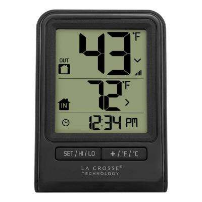 Black Wireless Temperature Station with Time