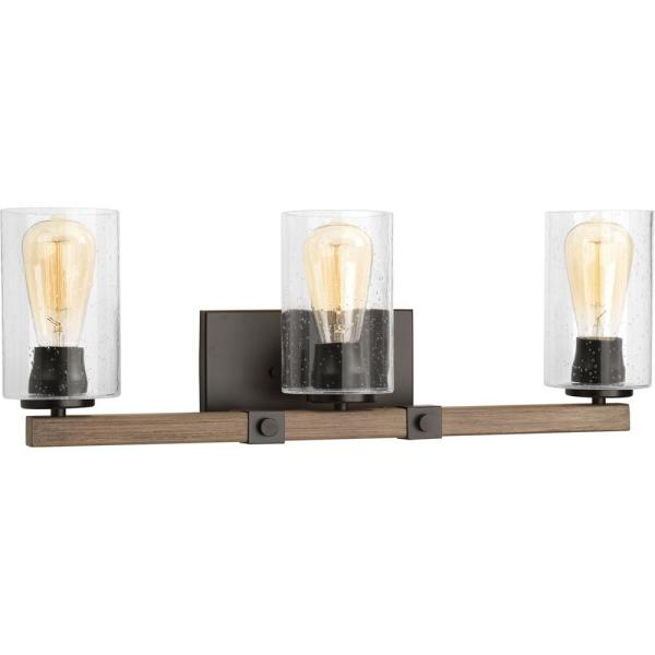 Barnes Mill Collection 3-Light Antique Bronze Bathroom Vanity Light with Glass Shades